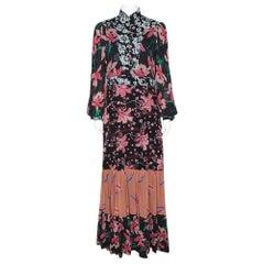Gucci Black Floral Print Crepe Flared Maxi Dress M