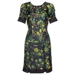 Gucci Black Floral Print Silk Bamboo Chain Detail Mini Dress M