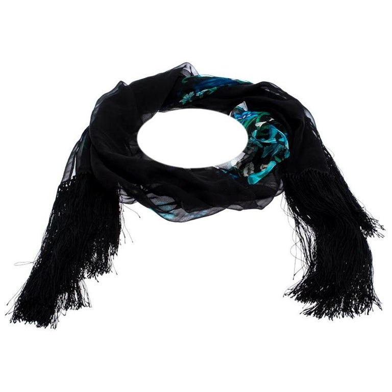 Gucci Black Floral Print Silk Fringed Scarf For Sale