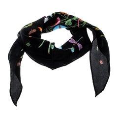 Gucci Black Floral Printed Silk Diamond Scarf