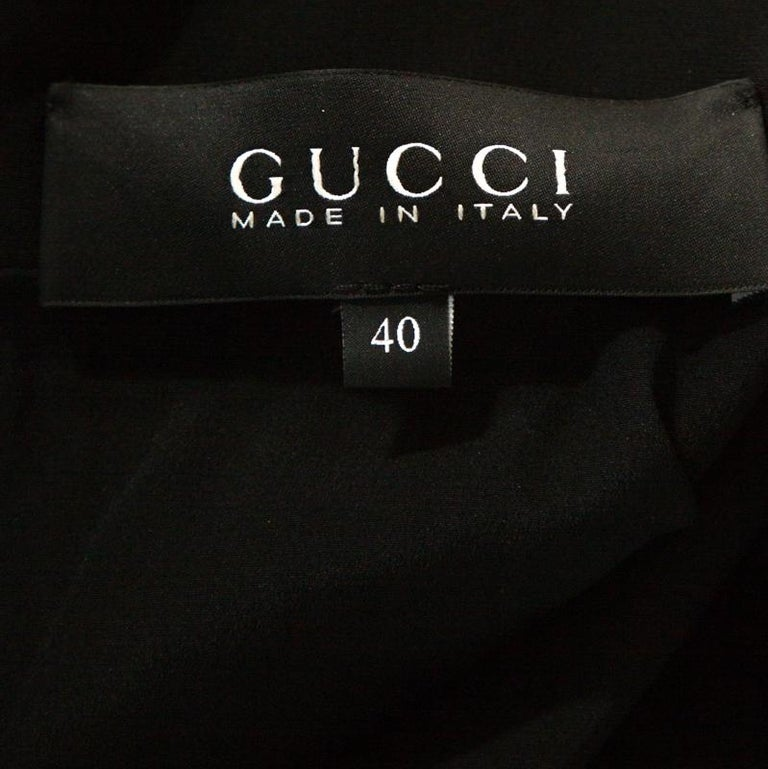 Women's Gucci Black Fluid Silk Crystal Embellished Shift Dress S For Sale