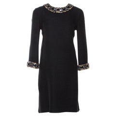 Gucci Black Fluid Silk Crystal Embellished Shift Dress S