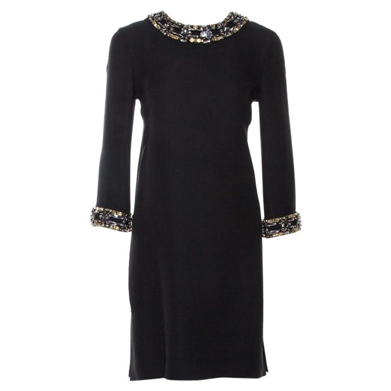 Gucci Black Fluid Silk Crystal Embellished Shift Dress S For Sale