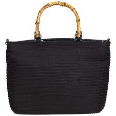 Gucci Black Fringed Nylon Bamboo Handbag