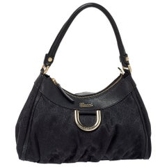 Gucci Black GG Canvas Abbey D-Ring Hobo Bag