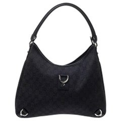 Gucci Black GG Canvas Abbey D-Ring Hobo