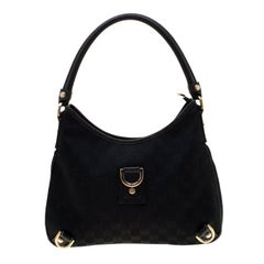 Gucci Black GG Canvas Abbey D Ring Hobo
