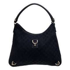Gucci Black GG Canvas and Leather Abbey D-Ring Hobo