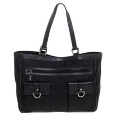 Gucci Black GG Canvas and Leather Abbey Pocket Tote