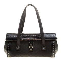 Gucci Black GG Canvas and Leather Bamboo Bullet Studded Satchel