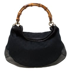 Gucci Black GG Canvas and Leather Bamboo Handle Hobo