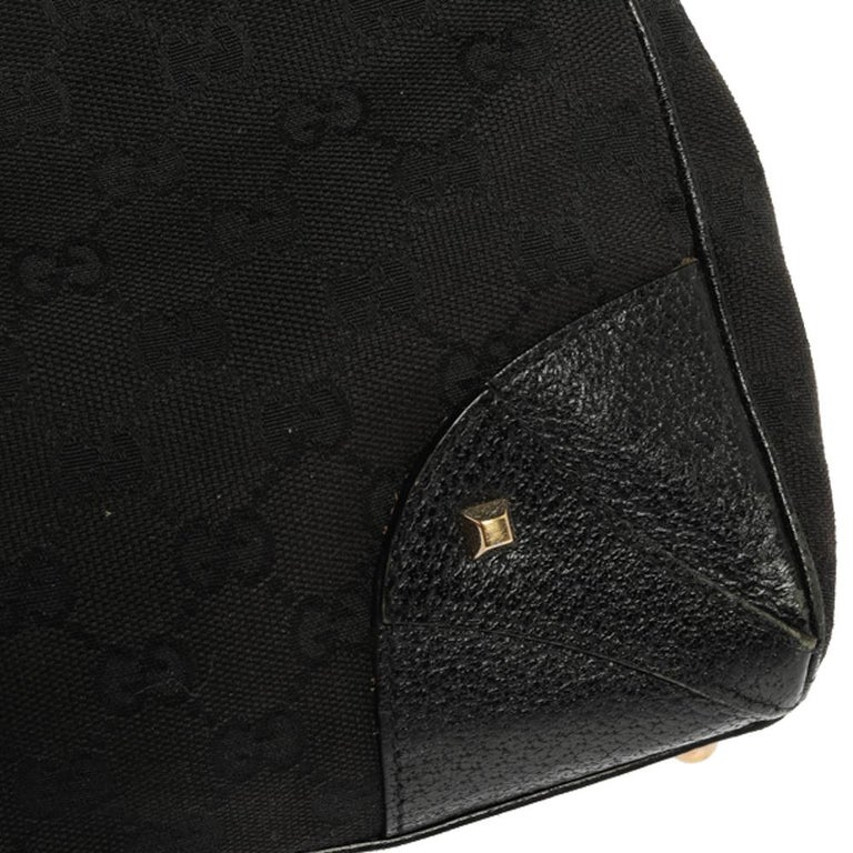 Gucci Black GG Canvas and Leather Bardot Bag For Sale 8