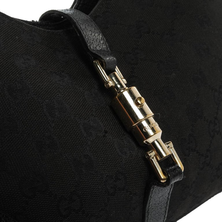 Gucci Black GG Canvas and Leather Bardot Bag For Sale 9