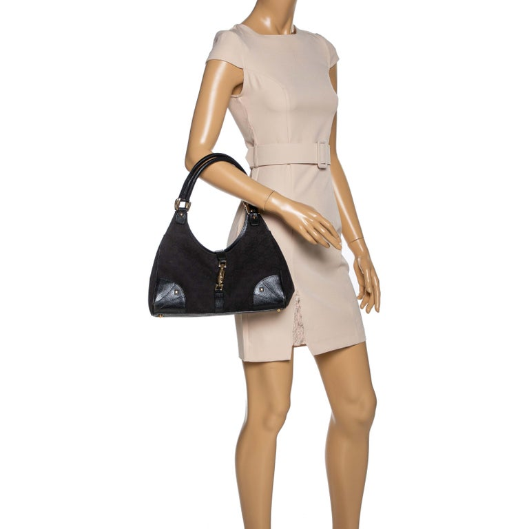 Gucci Black GG Canvas and Leather Bardot Bag In Fair Condition For Sale In Dubai, Al Qouz 2