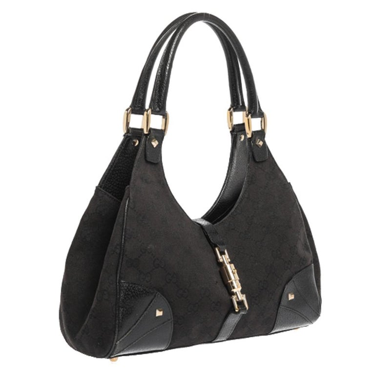 Women's Gucci Black GG Canvas and Leather Bardot Bag For Sale