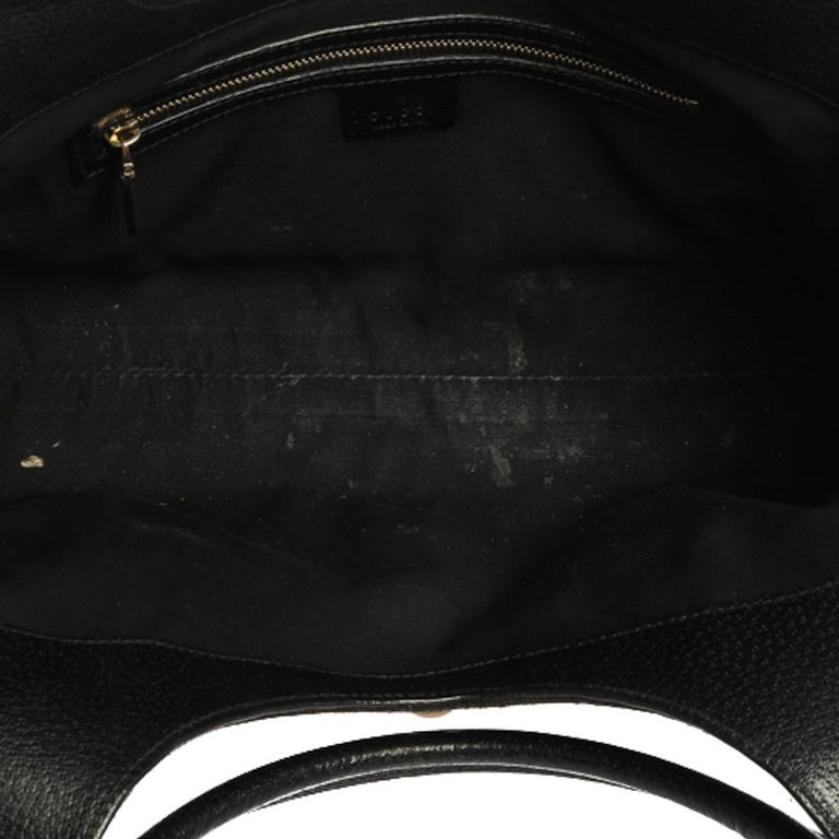 Gucci Black GG Canvas and Leather Bardot Bag For Sale 3