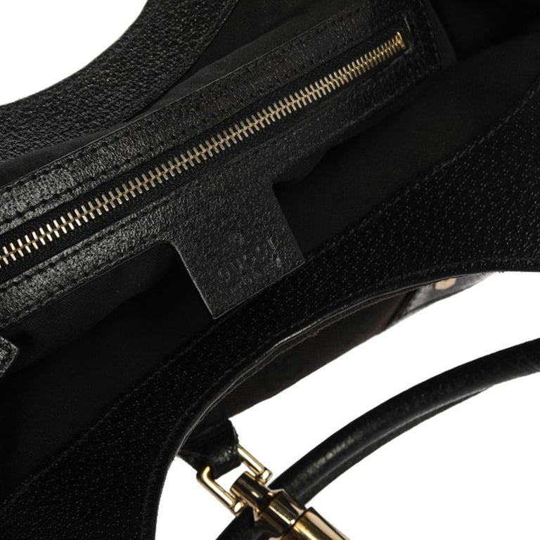 Gucci Black GG Canvas and Leather Bardot Bag For Sale 5