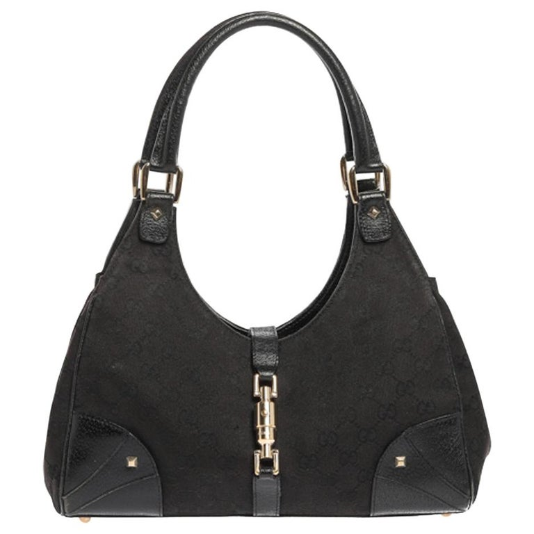 Gucci Black GG Canvas and Leather Bardot Bag For Sale