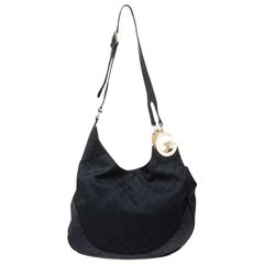 Gucci Black GG Canvas and Leather Charlotte Hobo