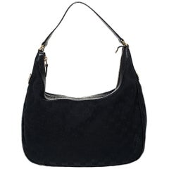 Gucci Black GG Canvas and Leather Charmy Hobo