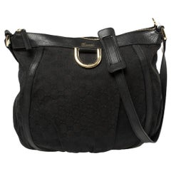 Gucci Black GG Canvas and Leather D Ring Hobo
