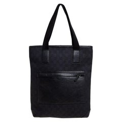 Gucci Black GG Canvas and Leather Front Pocket Vertical Tote