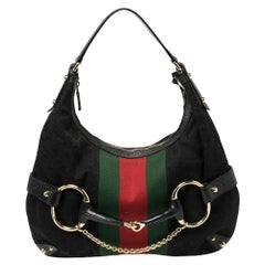 Gucci Black GG Canvas and Leather Horsebit Web Hobo
