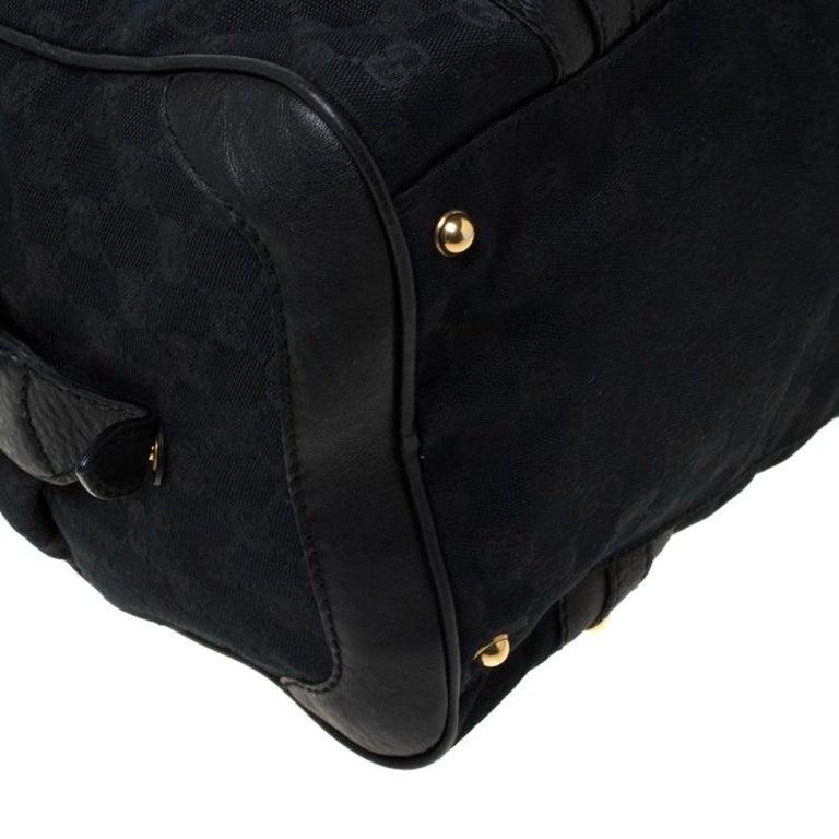 Gucci Black GG Canvas and Leather Interlocking Boston Bag For Sale 6