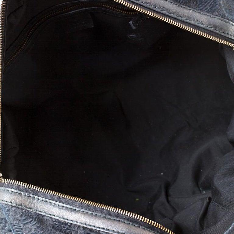 Gucci Black GG Canvas and Leather Interlocking Boston Bag For Sale 7