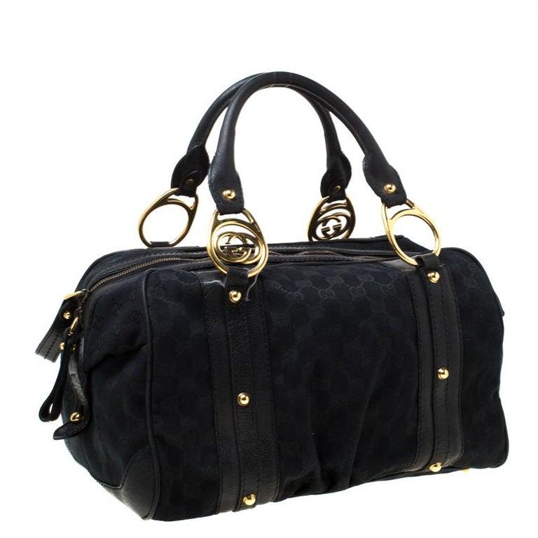 Women's Gucci Black GG Canvas and Leather Interlocking Boston Bag For Sale