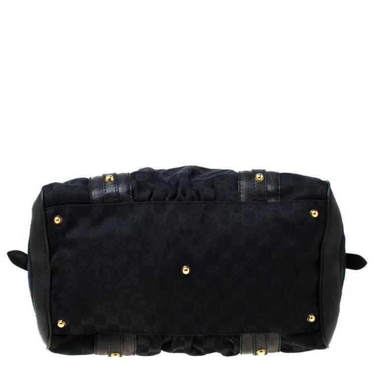 Gucci Black GG Canvas and Leather Interlocking Boston Bag For Sale 1