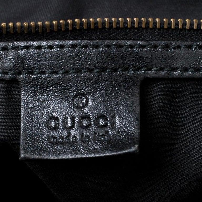 Gucci Black GG Canvas and Leather Interlocking Boston Bag For Sale 3
