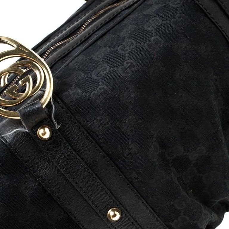 Gucci Black GG Canvas and Leather Interlocking Boston Bag For Sale 4