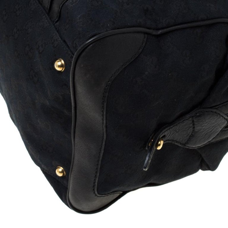 Gucci Black GG Canvas and Leather Interlocking Boston Bag For Sale 5