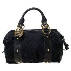 Gucci Black GG Canvas and Leather Interlocking Boston Bag