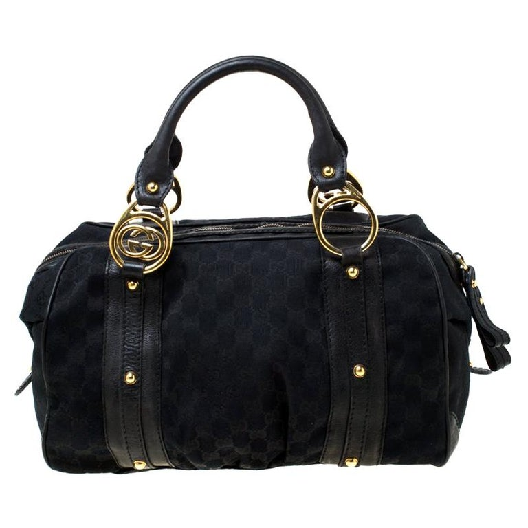 Gucci Black GG Canvas and Leather Interlocking Boston Bag For Sale
