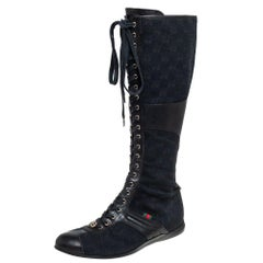 Gucci Black GG Canvas And Leather Knee Length Boots Size 38