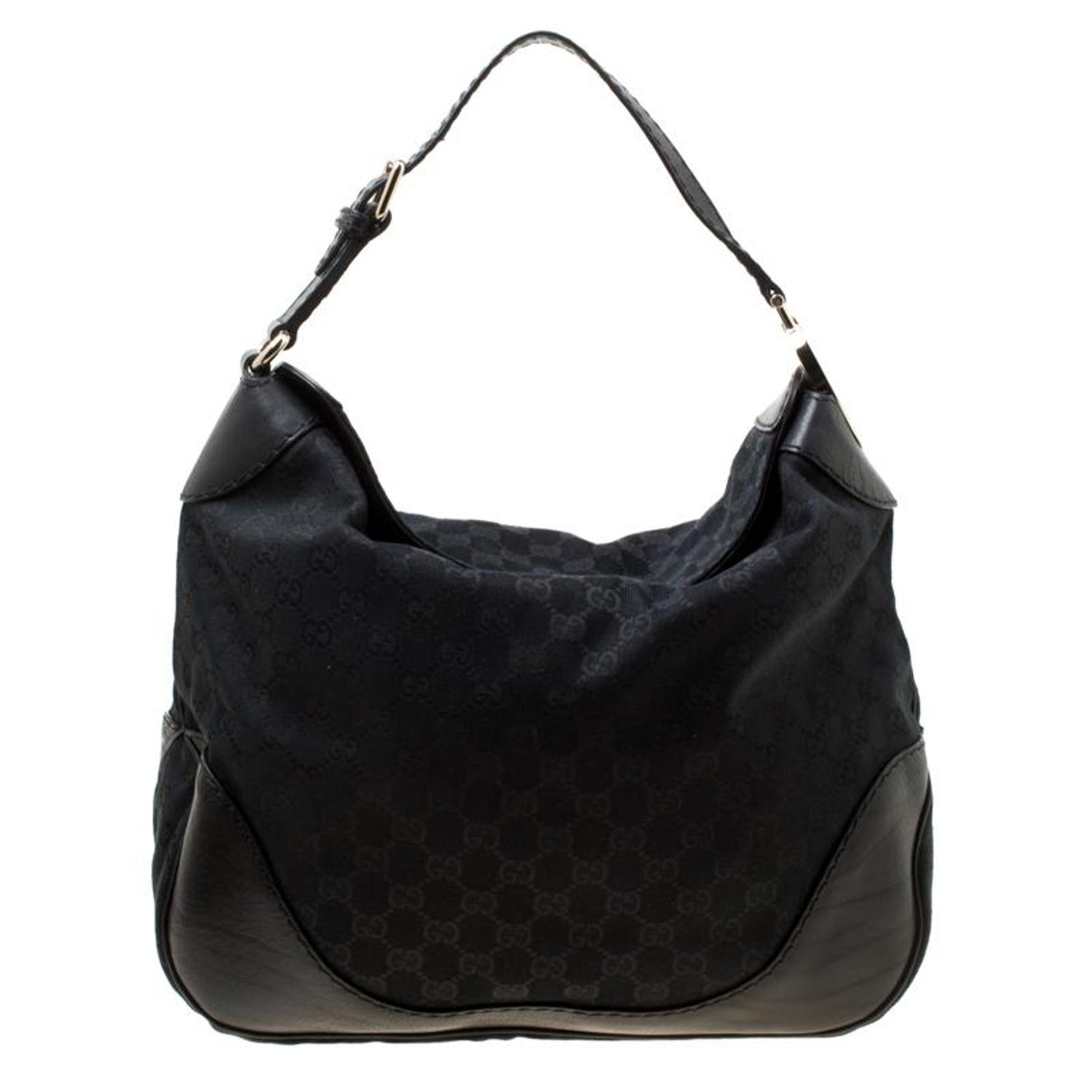 3eecf492e Gucci Black GG Canvas and Leather Medium Charlotte Hobo For Sale at 1stdibs