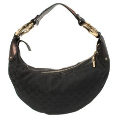 Gucci Black GG Canvas and Leather Medium Web Bamboo Ring Hobo