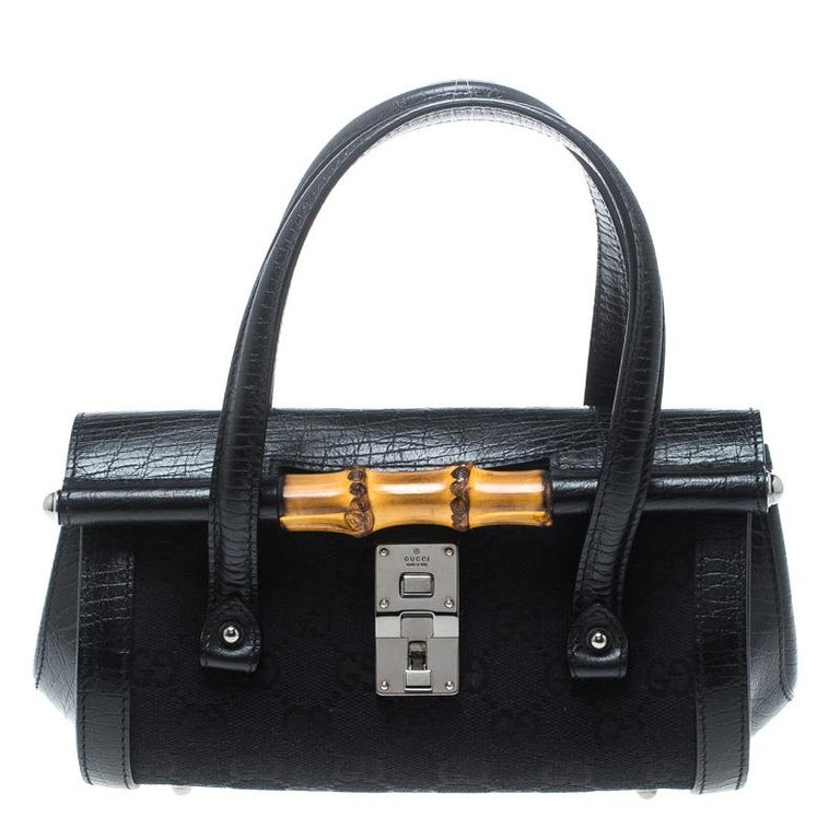 e4307dcfe0f390 Gucci Black GG Canvas and Leather Mini Bamboo Bullet Satchel For Sale