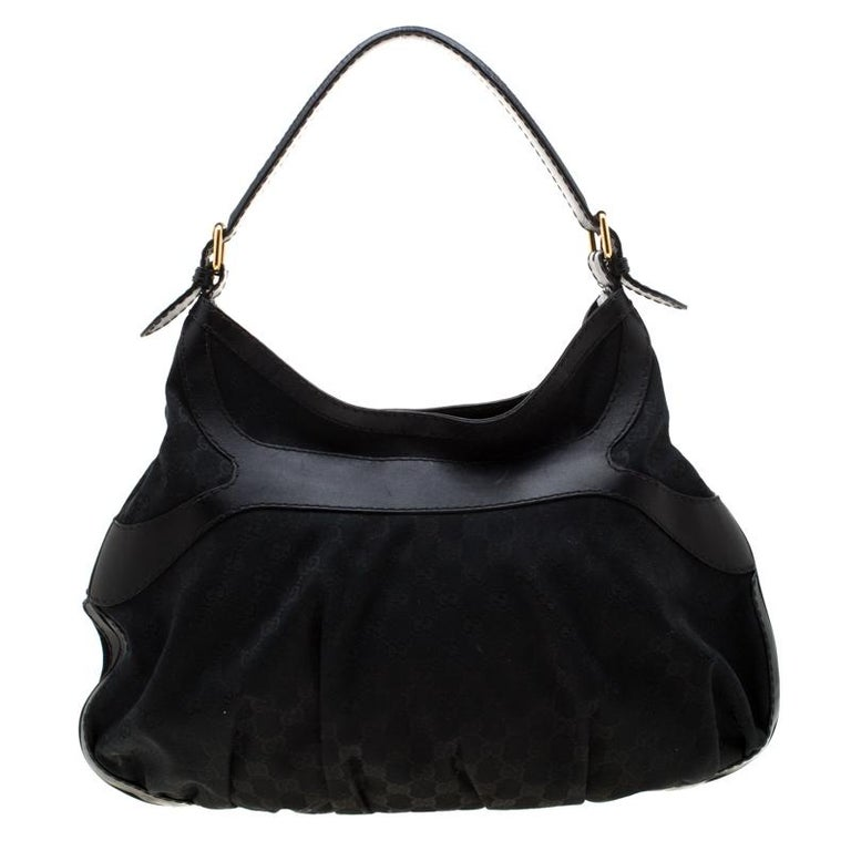 Gucci Black GG Canvas and Leather Queen Hobo For Sale 3