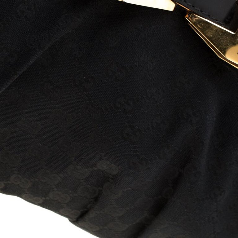 Gucci Black GG Canvas and Leather Queen Hobo For Sale 4