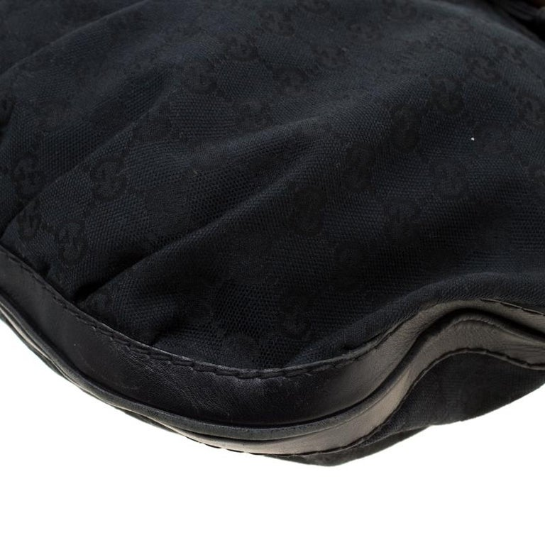 Gucci Black GG Canvas and Leather Queen Hobo For Sale 5