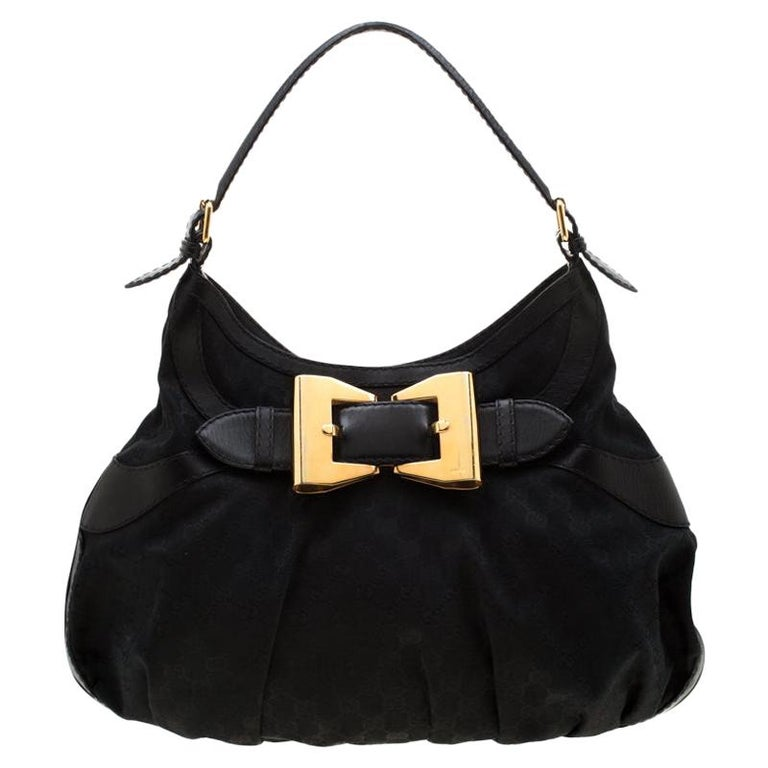 Gucci Black GG Canvas and Leather Queen Hobo For Sale