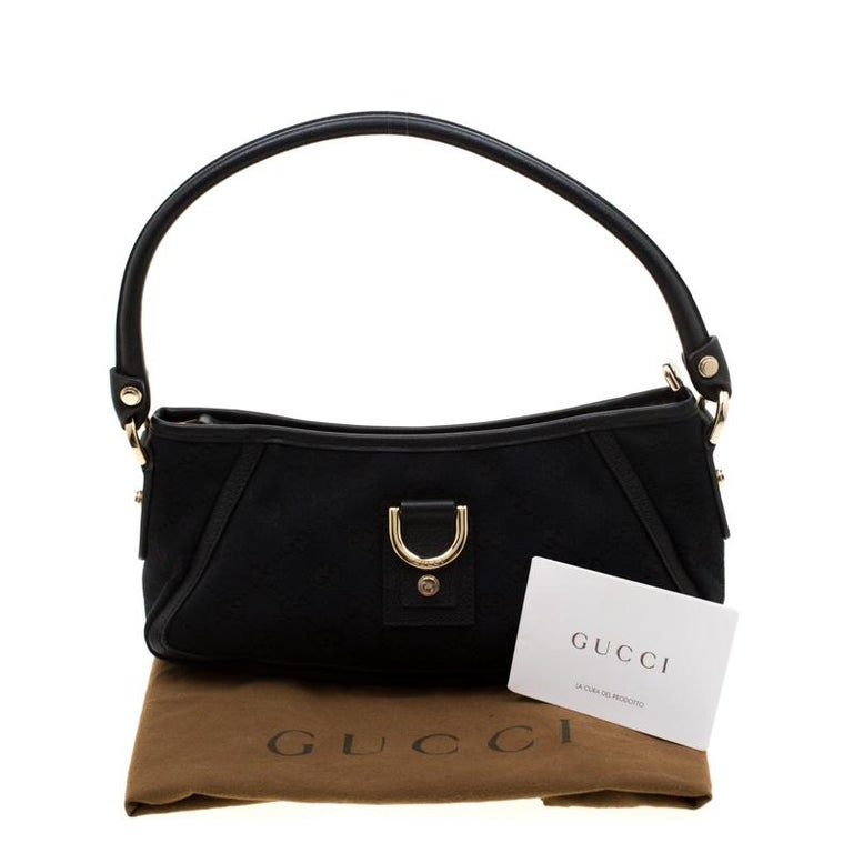 Gucci Black GG Canvas and Leather Small Abbey Shoulder Bag For Sale 8