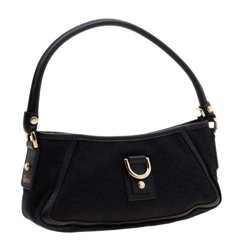 Women's Gucci Black GG Canvas and Leather Small Abbey Shoulder Bag For Sale