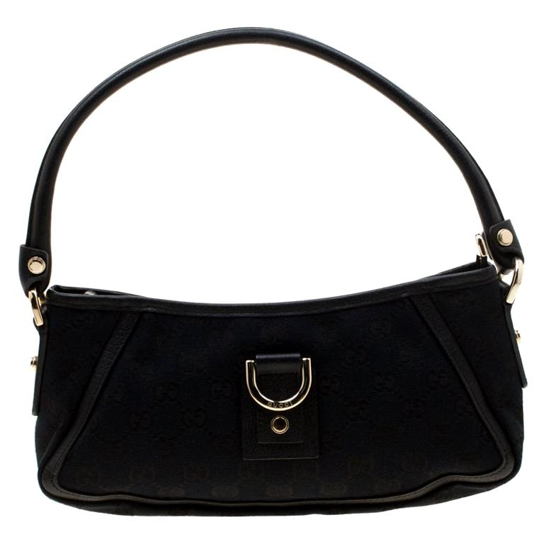 Gucci Black GG Canvas and Leather Small Abbey Shoulder Bag For Sale