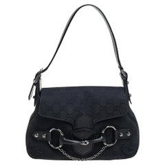 Gucci Black GG Canvas and Leather Small Horsebit Shoulder Bag