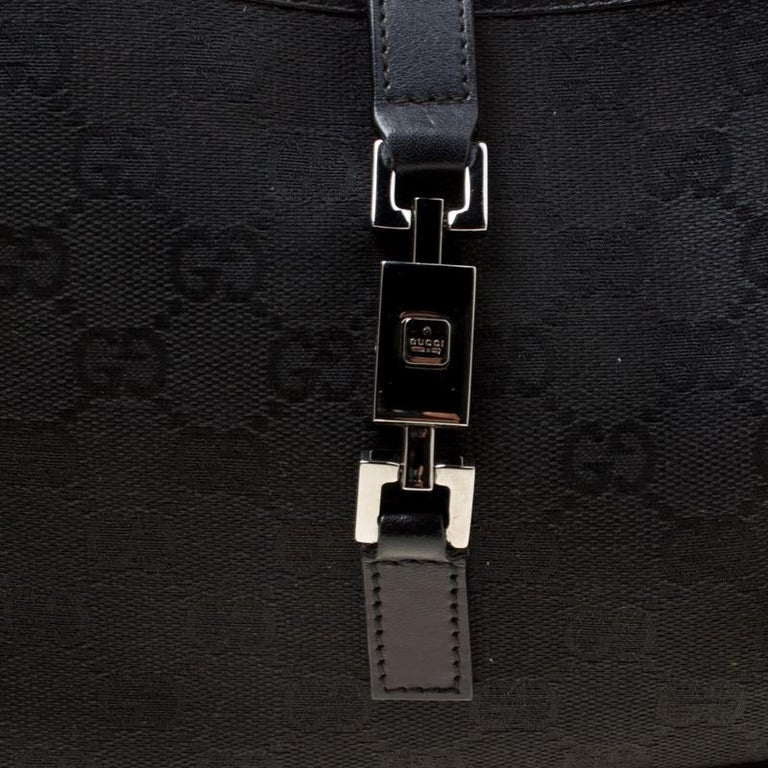 Gucci Black GG Canvas and Leather Small Jackie Hobo For Sale 6