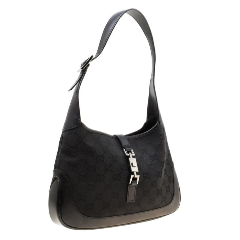 Gucci Black GG Canvas and Leather Small Jackie Hobo For Sale 5